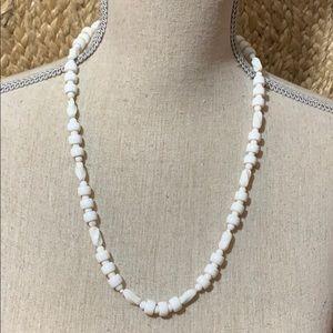 "40's Milk Glass Art Beaded Necklace 24"""